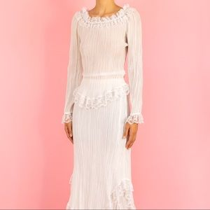 70's white+cream lace top+skirt set